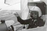 Patricia Jones-Bowman testing the Delaurier,UTIAS ornithopter CGPTR. 1997.  Photo copyright: James Delaurier